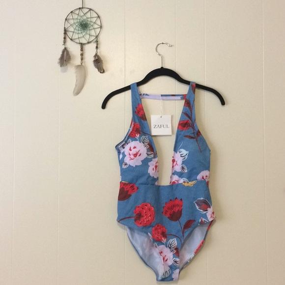 6c78b20043 Zaful Swim | One Piece Floral Bathing Suit Size Large | Poshmark